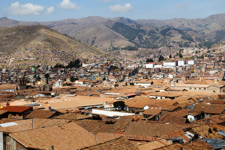 cusco: Roof Tops Buildings And Hills Of Cusco Peru Stock Photo