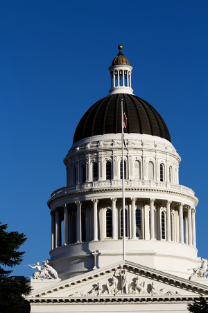california state: Dome Of California State Capitol Building Against Blue Sky
