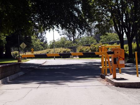 california state: Street Traffic Security Gate California State University Campus Stock Photo