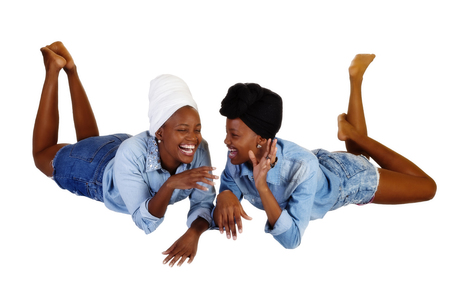 scarves: Two African American Women Laughing Shorts Shirts Head Scarves