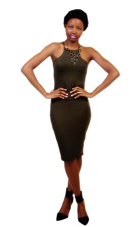 head scarf: Skinny Black Woman Standing Green Dress Head Scarf
