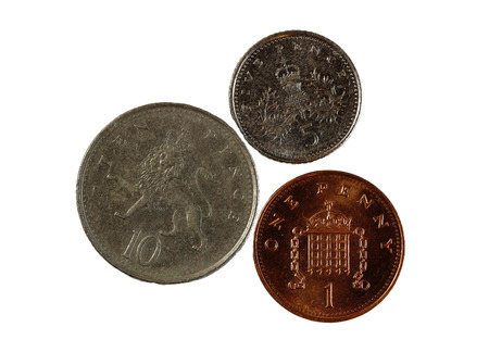 pence: Three English Pence Coins One Five And Ten