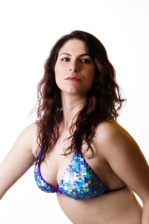 bikini top: Caucasian Woman In Blue Bikini Top Cleavage