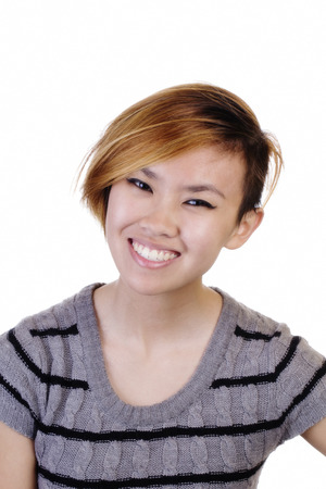 asian american: Smiling Asian American Woman Grey Knit Top