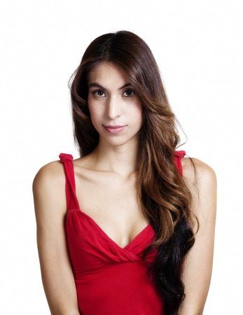 cleavage: Portrait Attractive Hispanic Woman Red Top Cleavage