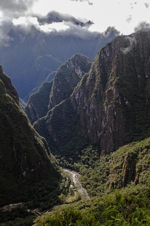 vegatation: Distant View Of Urubamba River From Machu Picchu Stock Photo