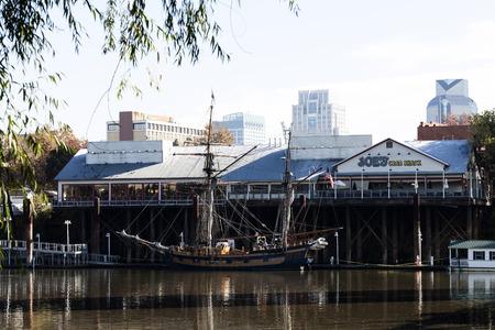 chieftain: Hawaiian Chieftain Tall Ship Tied Up At Dock Sacramento Waterfront Editorial