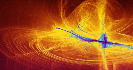 Abstract Background Blue Yellow  Red Lines Curves And Particles