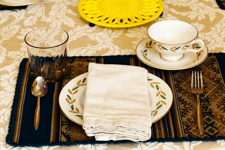 holiday meal: Festive Table Place Setting For Holiday Meal Stock Photo