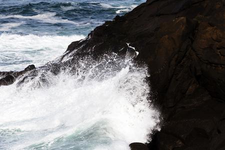 ocean waves: Ocean Waves Washing Up On Lava Rock Shore Depoe Bay Oregon