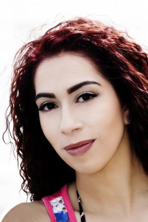 Hispanic Woman Outdoors Portrait Attractive Subtle Smile