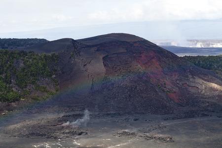 Faint Mist Rainbow Over Landscape Big Island Hawaii Lava Rocks