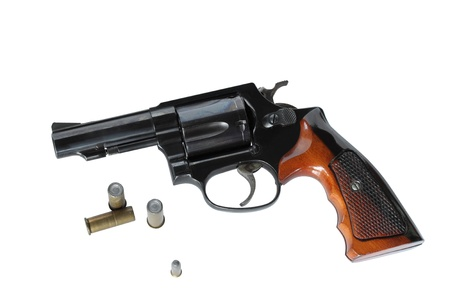 Gun with blank ammo on isolated