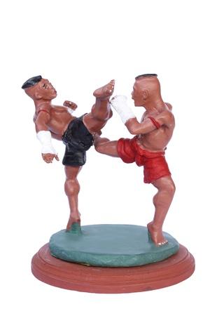 Muay Thai cross kicks on white background  Stock Photo