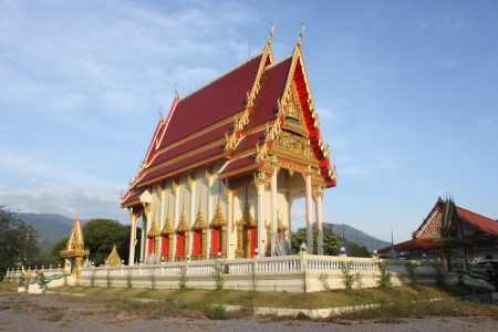 Buddhist temple with blue sky  Stock Photo