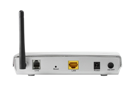 Back panel of wireless router isolate on white background Stock Photo