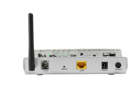 Back panel of wireless router and remove cover isolate on white