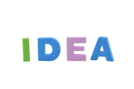 word of idea isolated on white background
