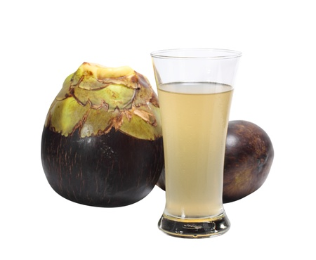 Fresh Toddy palm and glass of toddy palm juice