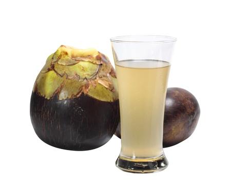 Palma Toddy fresco y un vaso de jugo de palma de toddy Foto de archivo - 18318798