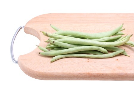 Green String Beans on Wooden cutting board Isolated on White background Stock Photo - 18708899