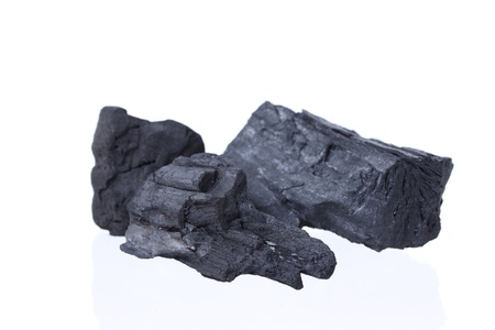 anthracite coal: wood coal isolated on white background