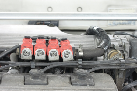 LPG injector installed in gasoline engine photo