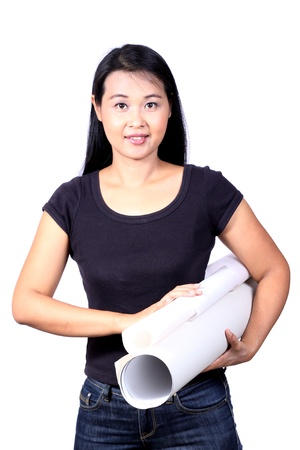 beautiful woman holding a roll of paper Stock Photo