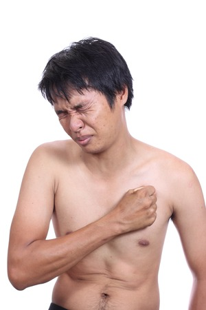 male torso, having heart attack Stock Photo - 22847238