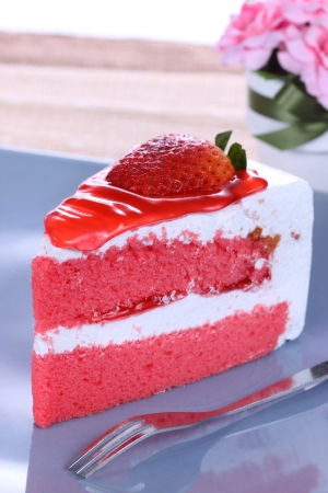 delicious dessert with strawbery cake photo