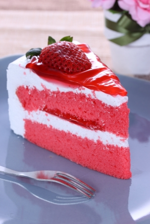 delicious dessert with strawbery cake