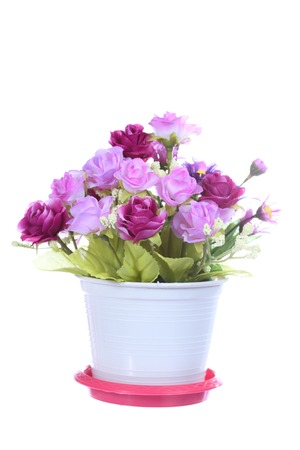 Colorful artificial flower, isolated on white background