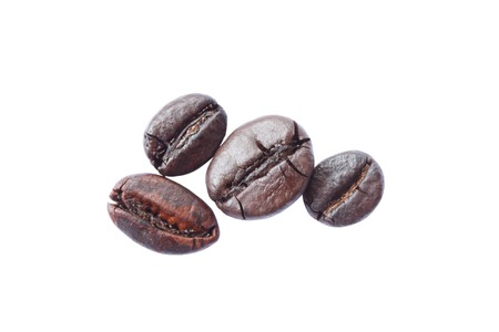 Coffee Beans isolated on white. Soft focus photo