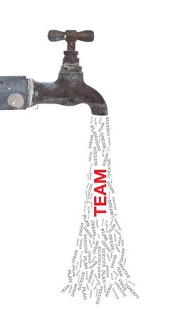 pipe dream: Antiguo grifo de agua y la palabra equipo Foto de archivo