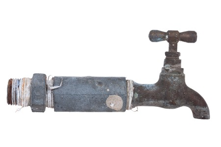 Old Water Faucet, isolate on white background. Stock Photo