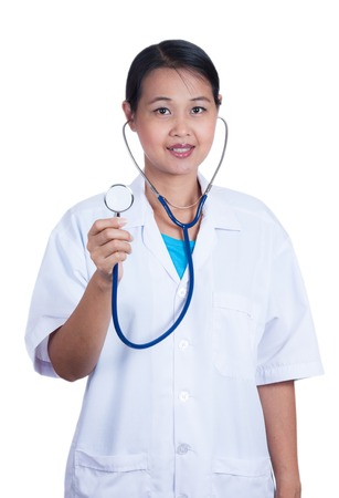 Doctor woman with a stethoscope on a white isolated background photo