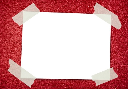 Sticky Note on red glitter background photo