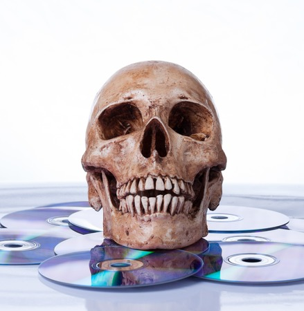 Human skull on dvd photo