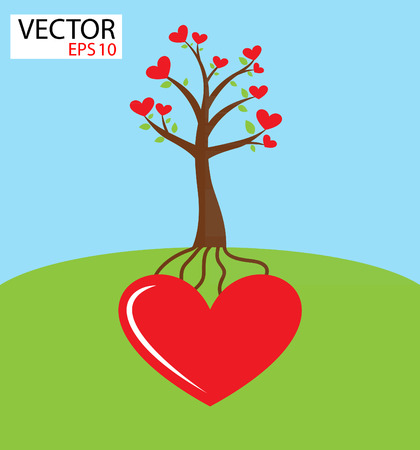 Heart tree growing from heart   Love concept Vector
