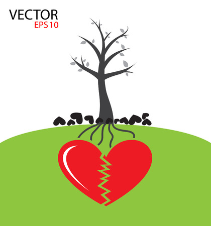 Heart tree growing from heart   Fail love concept Illustration