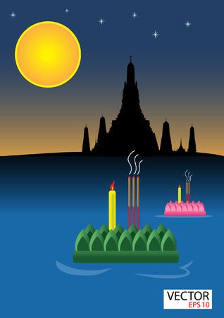 Loy Krathong  Festival , Thailand Illustration