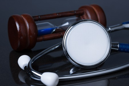Medical concept , stethoscope with hourglass Stock Photo