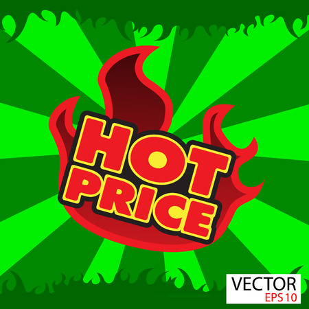 Hot price sticker  with flames photo