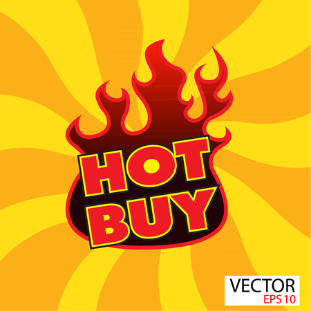 Hot buy sticker  with flames photo