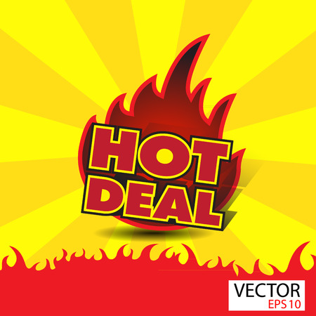 hot deal: Hot deal sticker  with flames