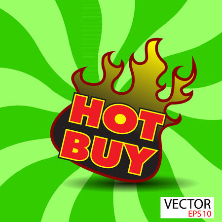 Hot buy sticker  with flames Stock Photo
