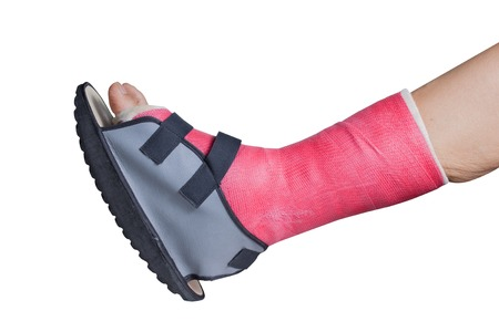 Foot splint treatment of injuries from ankle sprain, isolated on white.