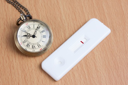 Pocket watch with negative pregnancy test on wooden table, concept idea photo