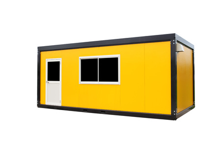 Yellow container office with door and window , isolated on white background photo