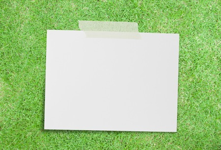 Note paper on green grass background